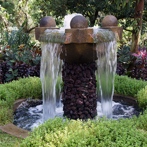 Landscape Garden Fountain : Keep outdoor fountains clean and clear with hydrogen peroxide