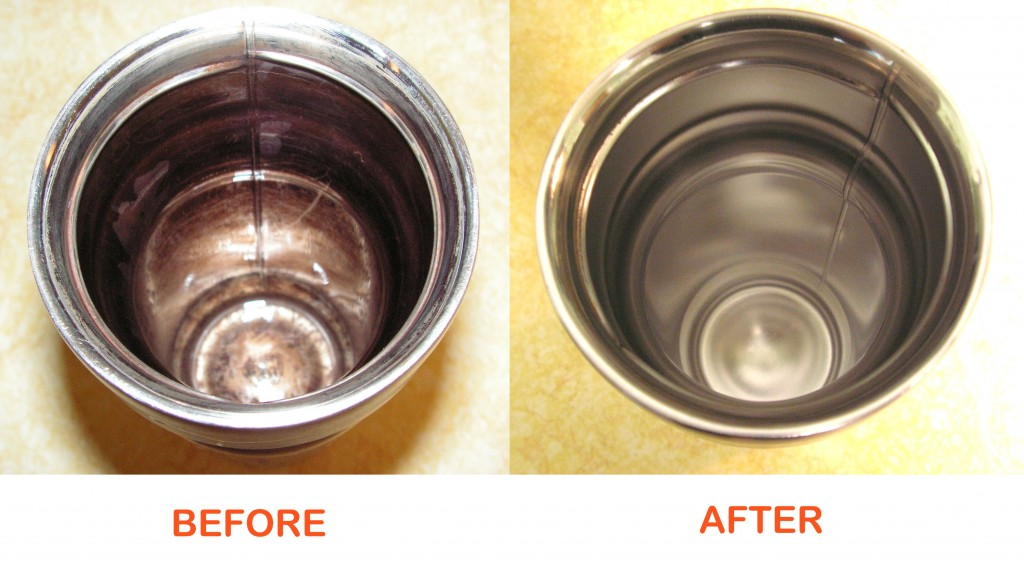 Thermos cleaned with H2O2 and Baking Soda